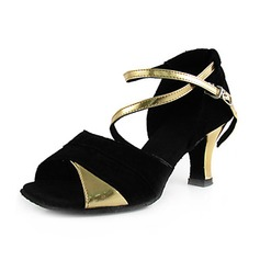 Women's Leatherette Nubuck Heels Sandals Latin With Ankle Strap Dance Shoes