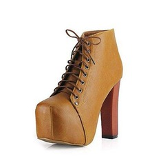 Leatherette Chunky Heel Pumps Boots Ankle Boots With Lace-up shoes