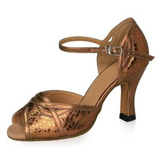 Women's Real Leather Heels Sandals Latin Ballroom With Ankle Strap Dance Shoes