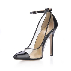 Leatherette Stiletto Heel Pumps Closed Toe With Buckle shoes