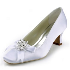 Satin Chunky Heel Closed Toe Pumps Wedding Shoes With Beading Bowknot Imitation Pearl (047011852)