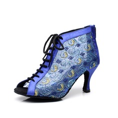 Women's Satin Heels Sandals Modern With Lace-up Dance Shoes