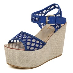Lace Wedge Heel Sandals Pumps With Buckle (085025160)