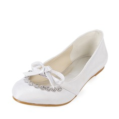 Satin Flat Heel Closed Toe Flats Wedding Shoes With Bowknot Rhinestone (047014129)