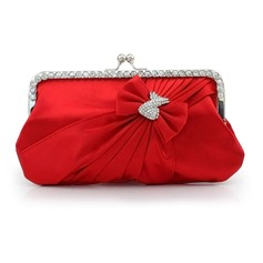 Silk Shell With Rhinestone/ Bowknot Evening Handbags/ Clutches More Colors Available (012016317)