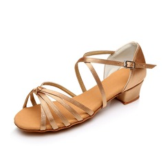Women's Kids' Satin Sandals Flats Latin With Bowknot Dance Shoes