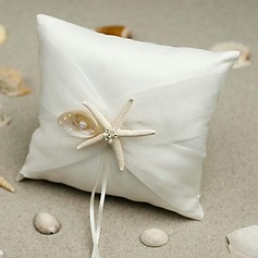 Beach Themed Starfish Design White Satin Ring Pillow(103018233)
