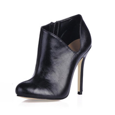 Leatherette Stiletto Heel Boots Ankle Boots (088013834)