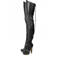 Leatherette Stiletto Heel Platform Over The Knee Boots With Zipper shoes