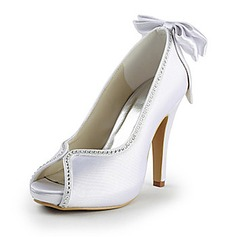 Satin Stiletto Heel Peep Toe Platform Pumps Wedding Shoes With Bowknot Rhinestone (047015219)