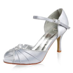 Satin Stiletto Heel Pumps Sandals Wedding Shoes With Buckle Rhinestone (047005113)