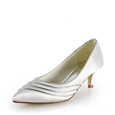 Satin Kitten Heel Closed Toe Pumps Wedding Shoes (047015258)