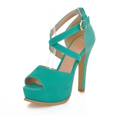 Suede Stiletto Heel Sandals Pumps Peep Toe With Buckle shoes