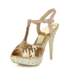 Satin Stiletto Heel Platform Sandals With Sequin (087023604)