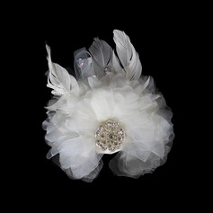 Beautiful Rhinestone Feather Flowers