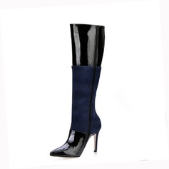 Suede Patent Leather Stiletto Heel Closed Toe Knee High Boots With Split Joint shoes