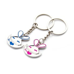 "Personalized ""Cartoon Rabbit"" Stainless Steel Keychains (Set of 6 Pairs)"