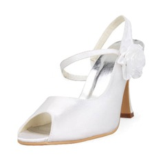 Satin Stiletto Heel Peep Toe Slingbacks Pumps Wedding Shoes With Satin Flower (047011860)