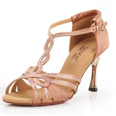 Women's Satin Heels Sandals Latin Wedding Party With Rhinestone T-Strap Dance Shoes