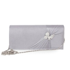 Silver gray Silk With Rhinestone Party/ Evening Handbags/ Clutches (012010424)