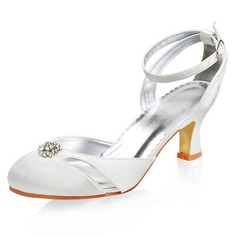 Satin Chunky Heel Closed Toe Pumps Wedding Shoes With Buckle Rhinestone (047005827)