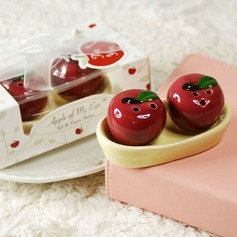 """Apple Of My Eye"" Ceramic Salt & Pepper Shakers With Ribbons/Tag (Set of 2 pieces)"