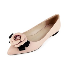 Real Leather Flat Heel Flats Closed Toe With Flower shoes