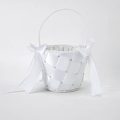 Flower Girl Basket In White Satin With Ribbon and Rhinestones(102018046)