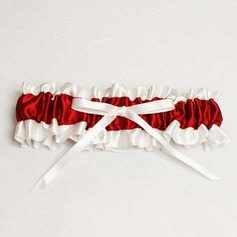 Red & Ivory Satin Wedding Garter With Ribbon Bow (104019299)