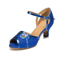 Women's Sparkling Glitter Sandals Latin With Buckle Dance Shoes