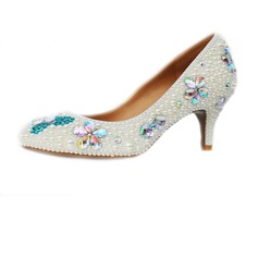 Patent Leather Cone Heel Pumps Closed Toe With Imitation Pearl shoes