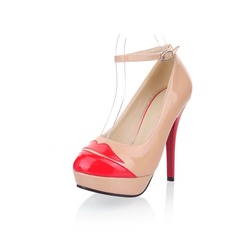 Patent Leather Stiletto Heel Platform Pumps With Buckle Others (085025200)