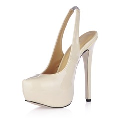 Patent Leather Stiletto Heel Platform Slingbacks Pumps Wedding Shoes (047017464)