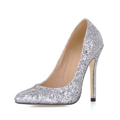 Sparkling Glitter Stiletto Heel Closed Toe Pumps Wedding Shoes With Sequin (047020486)