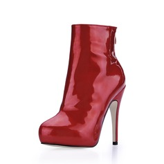 Patent Leather Stiletto Heel Platform Closed Toe Ankle Boots shoes