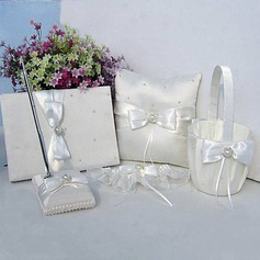 Ivory Satin Wedding Collection Set With Faux Peal Accents (5 Pieces)(100017977)