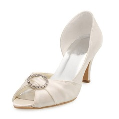 Satin Stiletto Heel Peep Toe Pumps Wedding Shoes With Rhinestone (047010750)