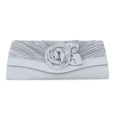 Silver Satin Shell Evening Handbags (012008671)