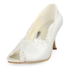Satin Spool Heel Peep Toe Pumps Wedding Shoes With Stitching Lace (047011050)