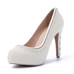 Women's Patent Leather Closed Toe Platform Pumps With Rhinestone Crystal Heel