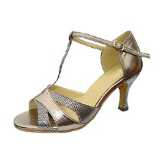 Women's Leatherette Sparkling Glitter Heels Sandals Latin Wedding Party With T-Strap Dance Shoes