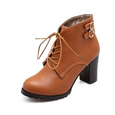 Women's Leatherette Chunky Heel Closed Toe Ankle Boots With Lace-up shoes