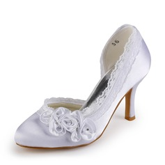 Women's Satin Stiletto Heel Closed Toe Pumps With Rhinestone Satin Flower Stitching Lace