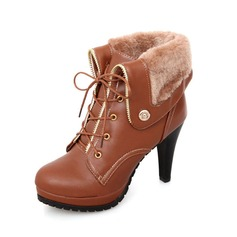 Women's Leatherette Stiletto Heel Platform Ankle Boots With Buckle shoes
