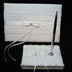 Elegant Wedding Guestbook And Pen Set With Lace(101018169)