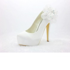 Satin Stiletto Heel Closed Toe Platform Pumps Wedding Shoes With Rhinestone Satin Flower (047024171)