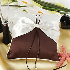 Elegant Ring Pillow In Chocolate Satin With Cream Sash(103018243)