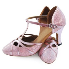 Leatherette Sparkling Glitter Heels Pumps Latin Ballroom Dance Shoes With T-Strap (053008212)