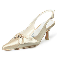Satin Skje Hl Lukket T Slingbacks Brudesko med Slyfeknute Spenne (047005130)
