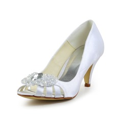 Women's Satin Cone Heel Peep Toe Pumps Sandals With Rhinestone Hollow-out